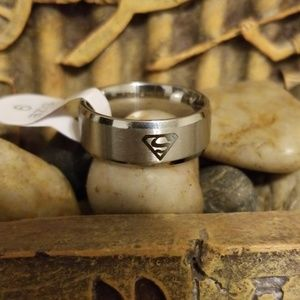 Superman band ring stainless steel size 9